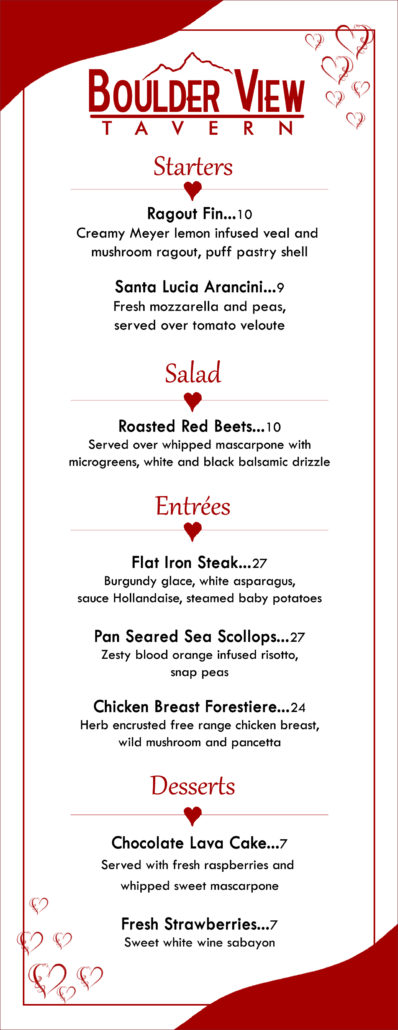 top it all off with a sweet dessert ala carte pricing click on the menu below to view our valentines day selections